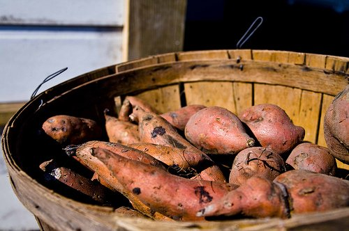 sweet potatoes in a wooden basket