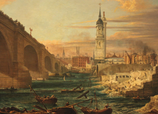 """Photograph of the painting """"The Demolition of Old London Bridge"""""""